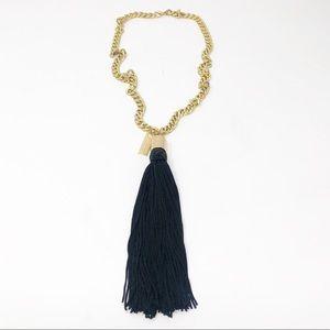 Marc Jacobs Gold Tone Black Tassel Necklace